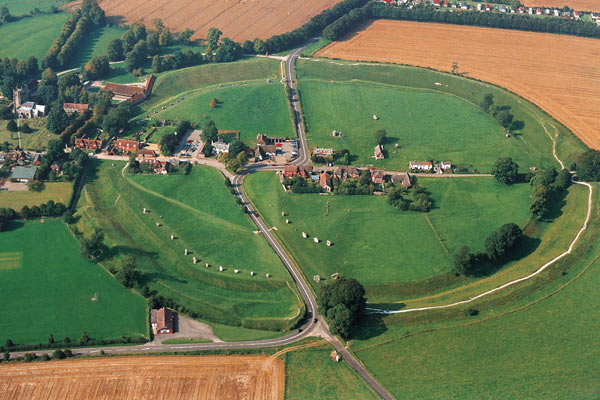 The Avebury stone circle from the air