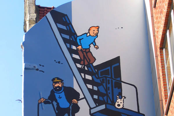 Comic strip mural, Tintin, in Brussels