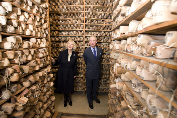 The Prince of Wales and Duchess of Cornwall visiting John Lobb St James's