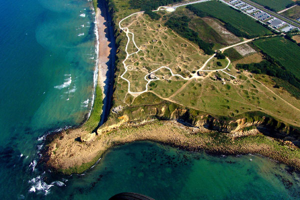 Normandy, The Pointe du Hoc Cliffs from the air