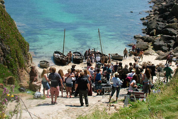 Poldark Location. Filming at Porthgwarra © St Aubyn Estates